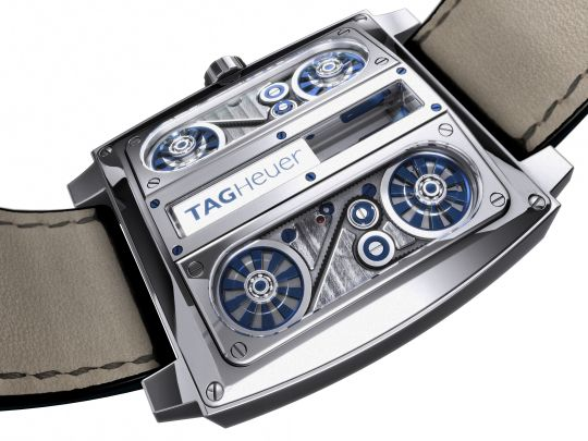 Upside down in a daring evolution of the iconic tag heuer monaco