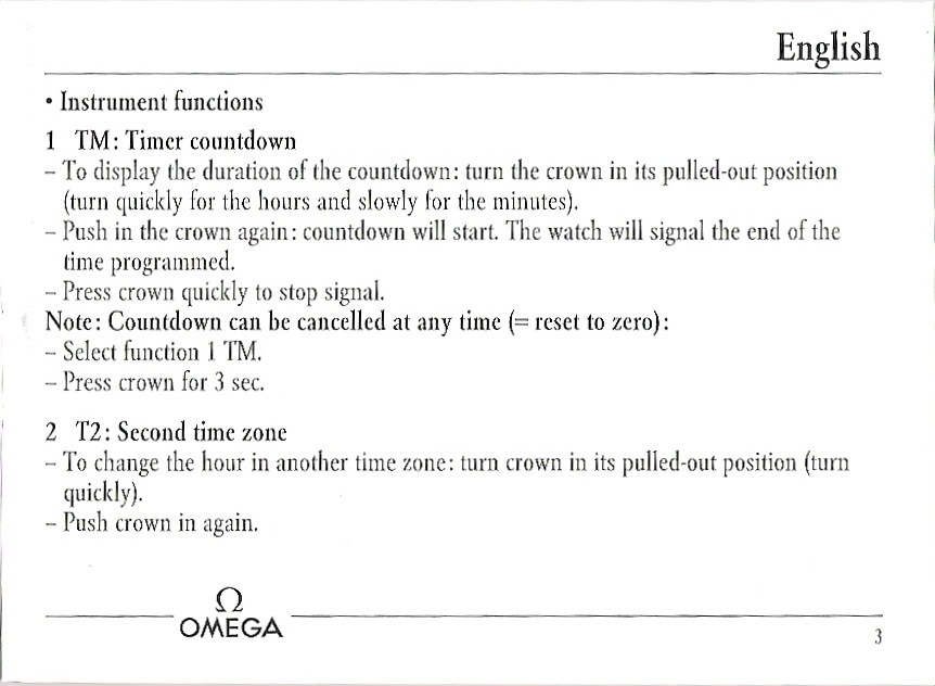 omega seamaster instruction manual